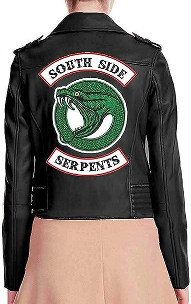 BasingStoke Biker Jacke für Damen, Kunstleder, Rot Schwarz mit Applikationen auf dem Rücken, Schlangemotiv, Aufschrift Serpents und Southside