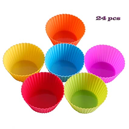 24 Moldes de Magdalena del Silicona Moldes para Muffin Cupcakes, 6 colores- Antiadherente,