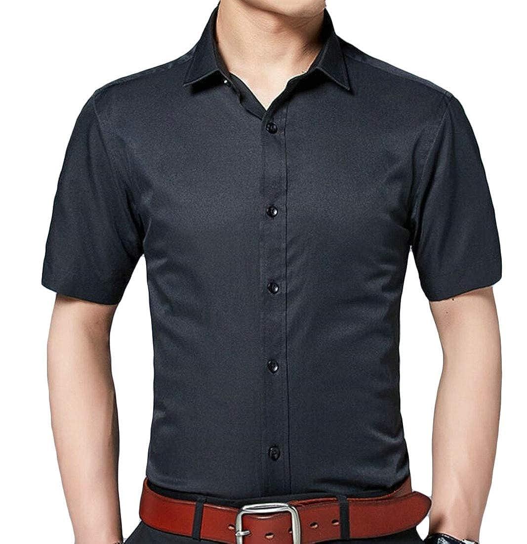 heymoney Mens Casual Slim Fit Short Sleeve Business Shirt