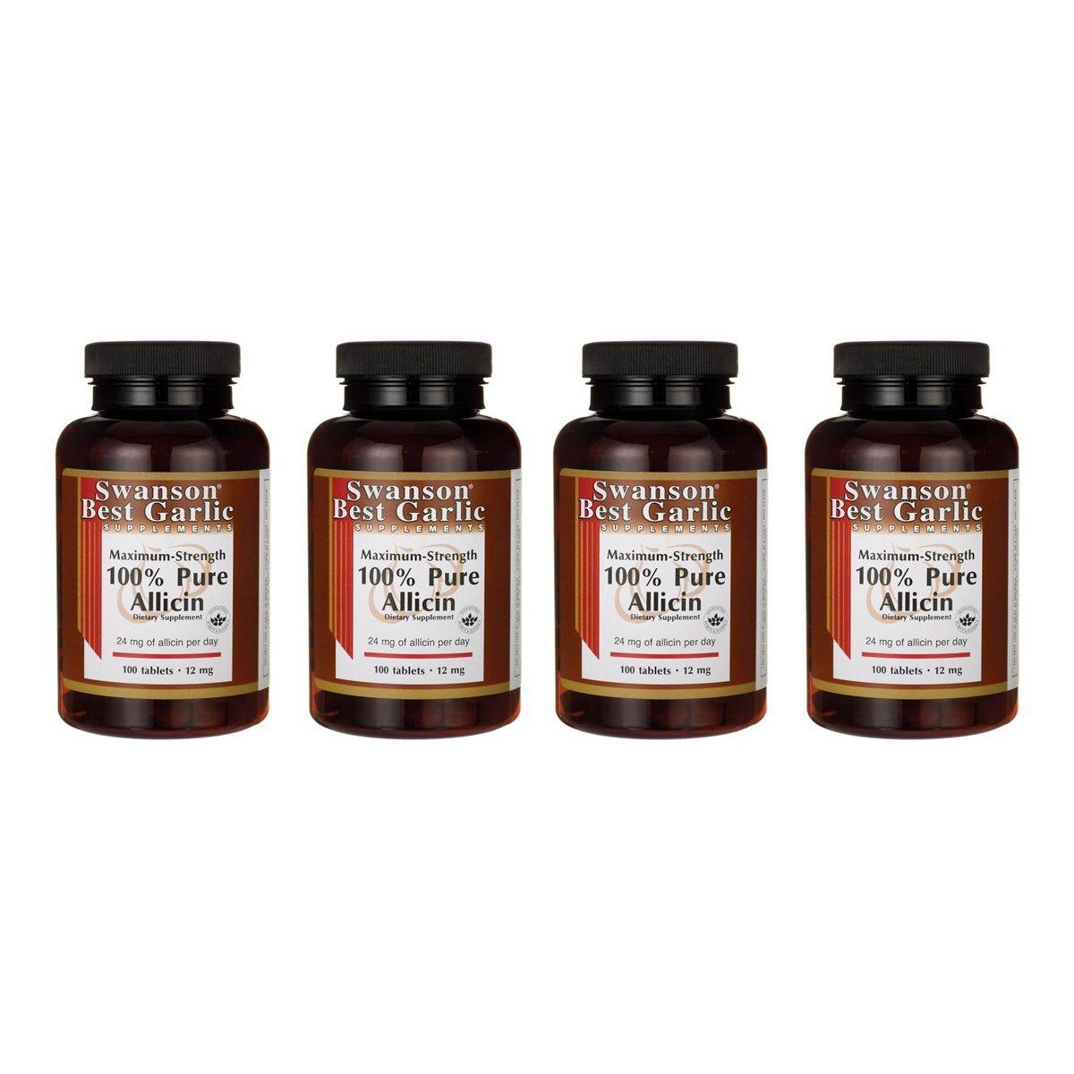 Swanson Maximum-Strength 100% Pure Allicin 12 mg 100 Tabs 4 Pack