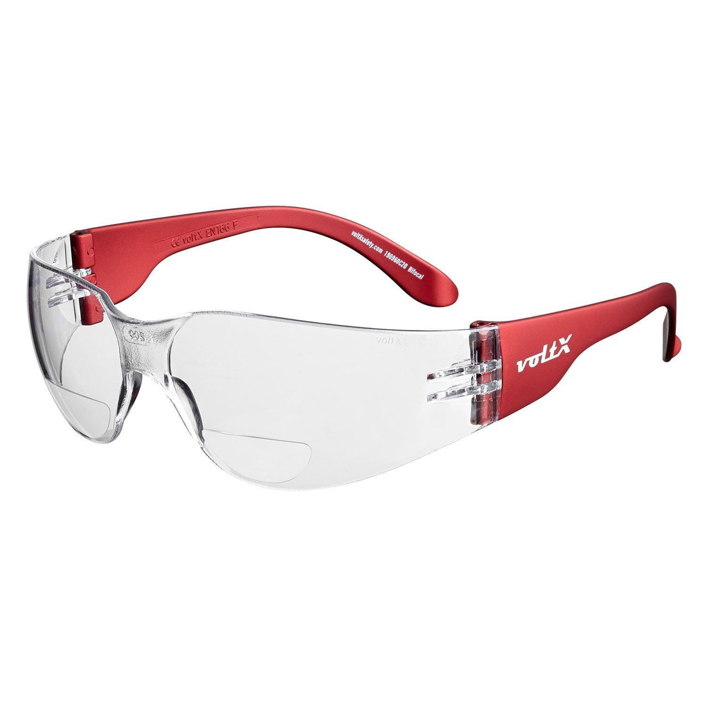voltX 'GRAFTER' (TRANSPARENTES dioptría +1.5) Lentes de lectura de seguridad industrial bifocales, Certificado CE EN166F / Gafas de Ciclismo – Safety Reading Glasses + Lente UV400