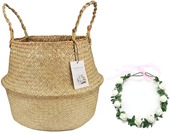 Belly Basket for Fiddle Leaf Home Decoration Plant Pot Cover by Qliwa Seagrass Basket