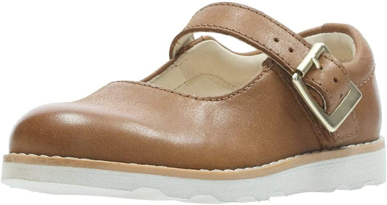 CLARKS Tiny Flower Girls Buckled T Bar Leather First Shoe