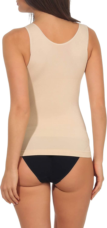 simaranda 2er Set Damen Unterhemd Seamless Formtop mit Shaping Effekt Bauchweg Mieder Shapwear 9