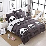 Hxiang 3-pcs Microfiber Duvet Cover Set White and Black Panda Animal Patterns Design Prints Without Comforter (Twin)