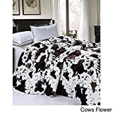 """BOON Soft and Thick Faux Fur Sherpa Backing Bed Blanket, Cows Flower, 84"""" x 92"""""""