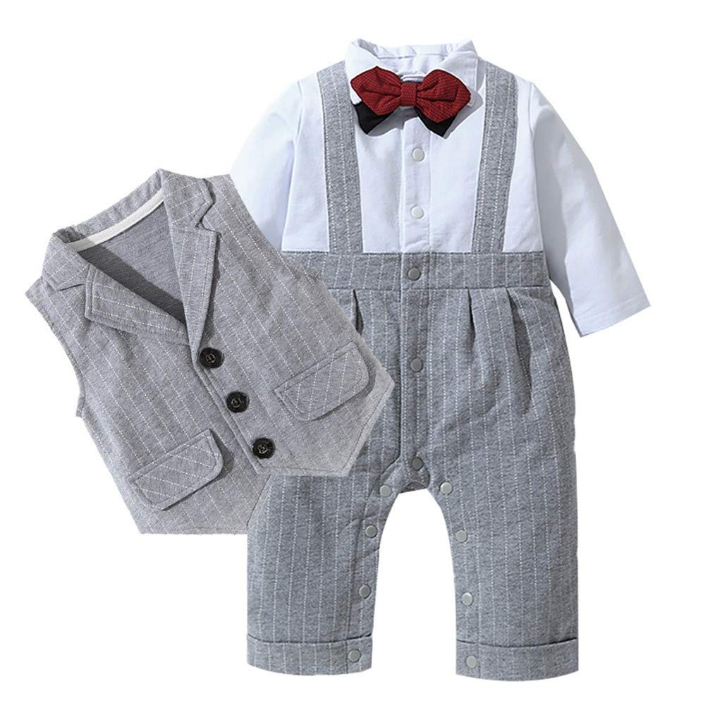 Baby Boy Outfits Set, 3pcs Long Sleeves Gentlemen T-Shirt Jumpsuit & Vest Coat with Bow Tie Wedding Tuxedo Outfits (Gray, 18-24 Months) by QIBOOG