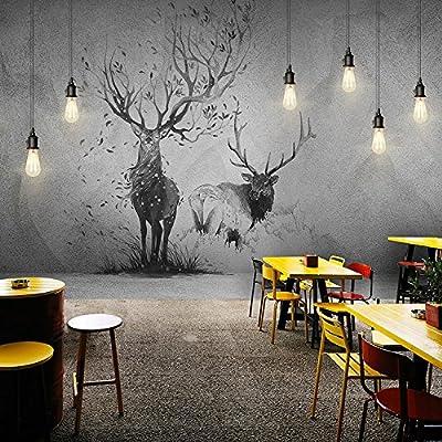 XLi-You 3D the Nordic creative deer wallpaper living room bedroom tv background Hyun Off Walls