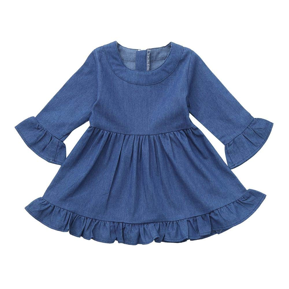 Zerototens Girls Denim Dress, 0-3 Years Old Toddler Infant Baby Girls Ruffles Flare Sleeve Solid Blue Princess Dress Children Casual Outfit Clothes