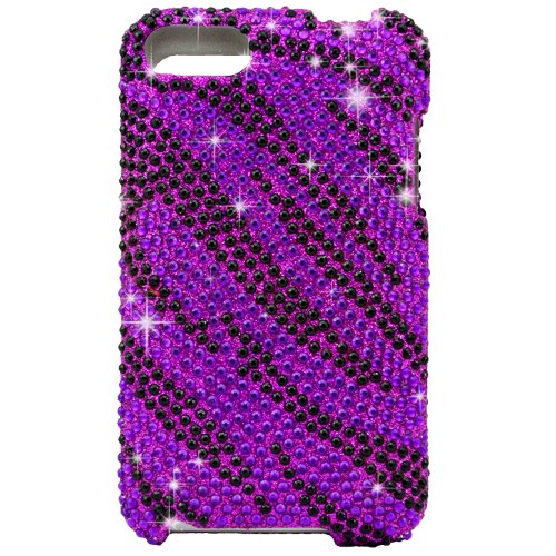 "Black / Purple Zebra Bling Rhinestone Diamond Snap-On Hard Skin Case Cover New for Apple Ipod Touch iTouch 2nd and 3rd Generation, 2 / 3 / 2G / 3G - Purple 4.5"" Universal Stylus Pen Included - With The Friendly Swede® Retail Packaging"