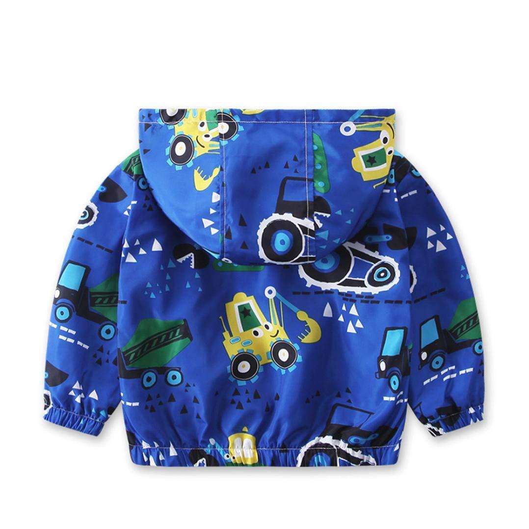 WARMSHOP Children Boys Girls Cartoon Pattern Zipper Hoodie Windbreaker Outwear Jacket for Autumn and Winter Warm Coat