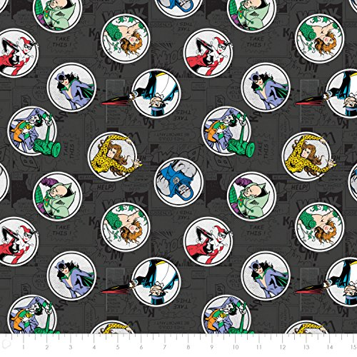 DC Comics Villains in Carbon Premium Cotton Fabric by the Yard