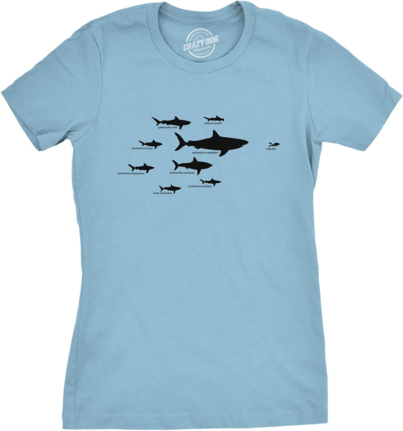 Women's Shark Hierarchy Chart T Shirt Funny Science Ocean Tee for Guys
