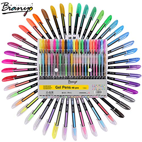 48 Unique Colors Gel Pen Set - Glitter,Neon,Metallic,Pastel Colors - Refill Art Markers for Adult Coloring,Writing-Drawing Pen for Kids, Gifts