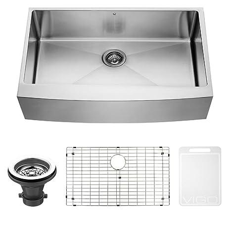 vigo 36 inch farmhouse stainless steel kitchen sink with rounded edge grid and strainer vigo 36 inch farmhouse stainless steel kitchen sink with rounded      rh   amazon com