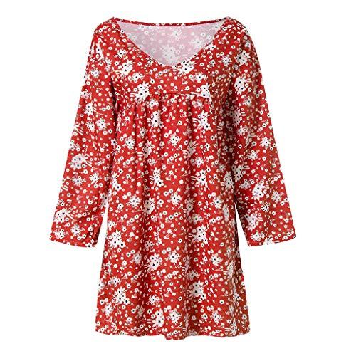 Robes Rouge Casual De Bringbring Été T Cou Taille shirt Imprimé Femme Plage Robe bohemia V Plus fyY76bg