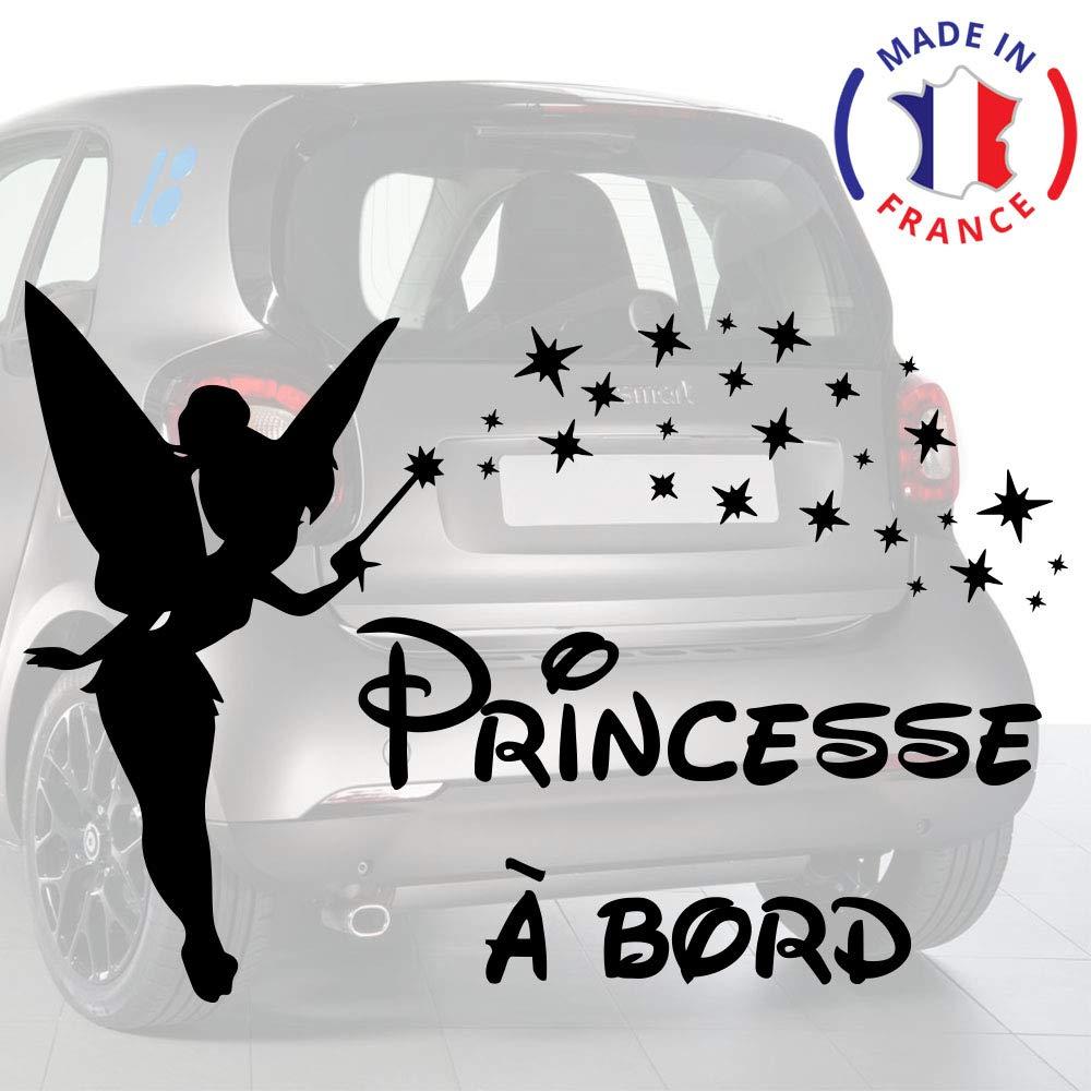 Sticker bébé à bord pour voiture Princesse à bord Etoile 20 cm Noir - Anakiss