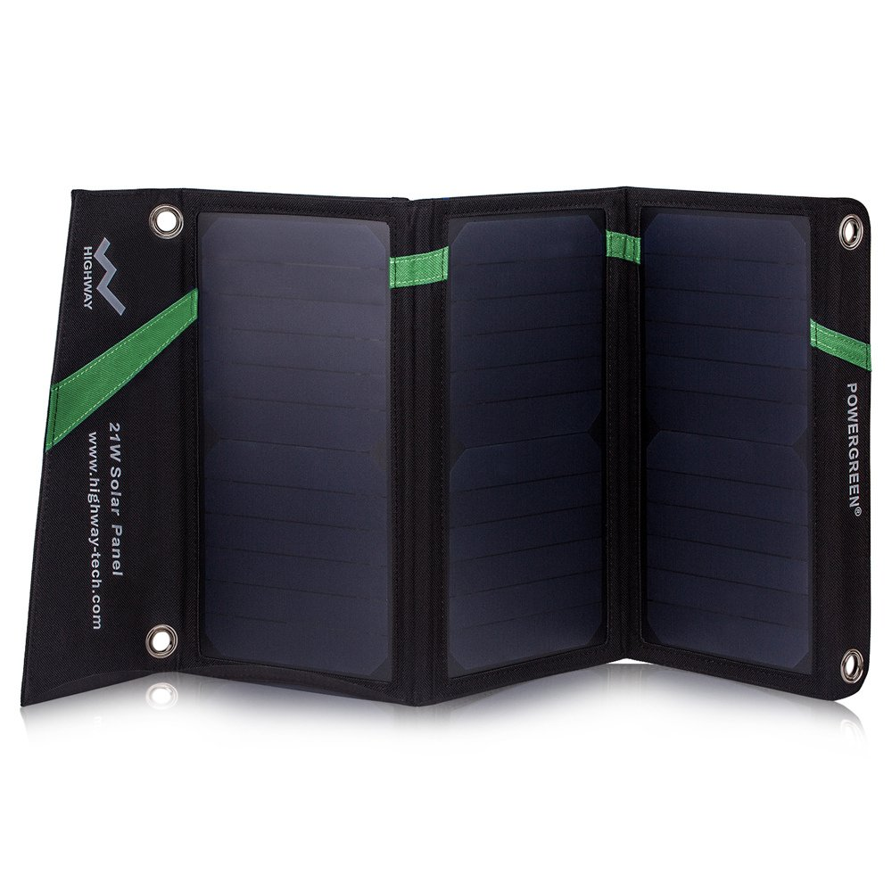 Solar Charger,PowerGreen 21W Folding Solar Panel Charger with Dual USB Ports for All 5V Digital Cell Phones,Emergency Camping&Hiking(Green)