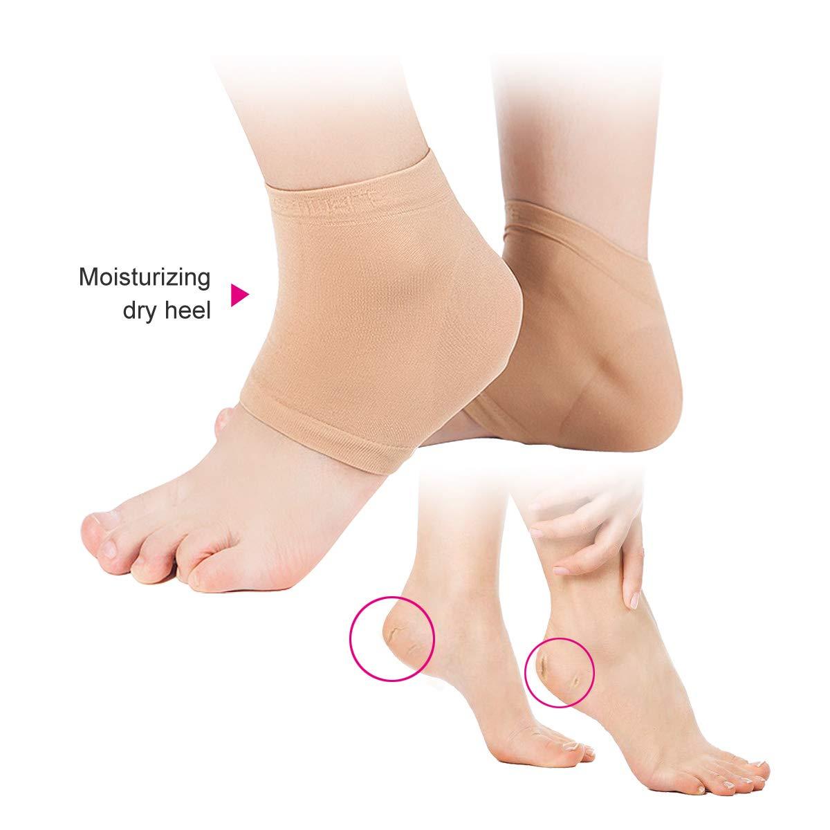 Loritada 2Pairs Vented Moisturizing Gel Heel Socks Open Toe Dry Cracked Heel Moisturizing Day Night Care Skin (L)