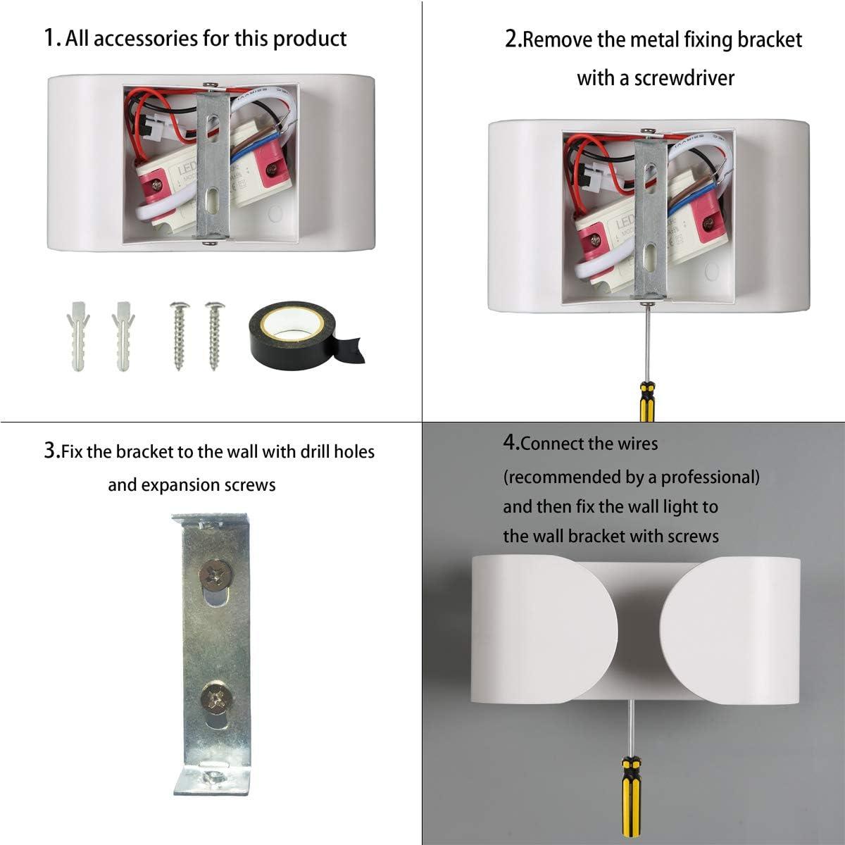 Flur Bad Wohnzimmer Treppe -Warmwei/ß 3050K Wandlampe Innen LED Wandleuchte 12W Moderne Wandbeleuchtung Aluminium Up Down Wandbeleuchtung f/ür Schlafzimmer