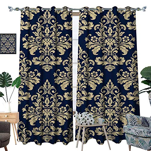- fengruihome Bedroom Curtains Blackout Draperies Panel Curtains for Living Room/Bedroom Wallpaper Baroque Damask Backgroun G Blue Ornament 84.3