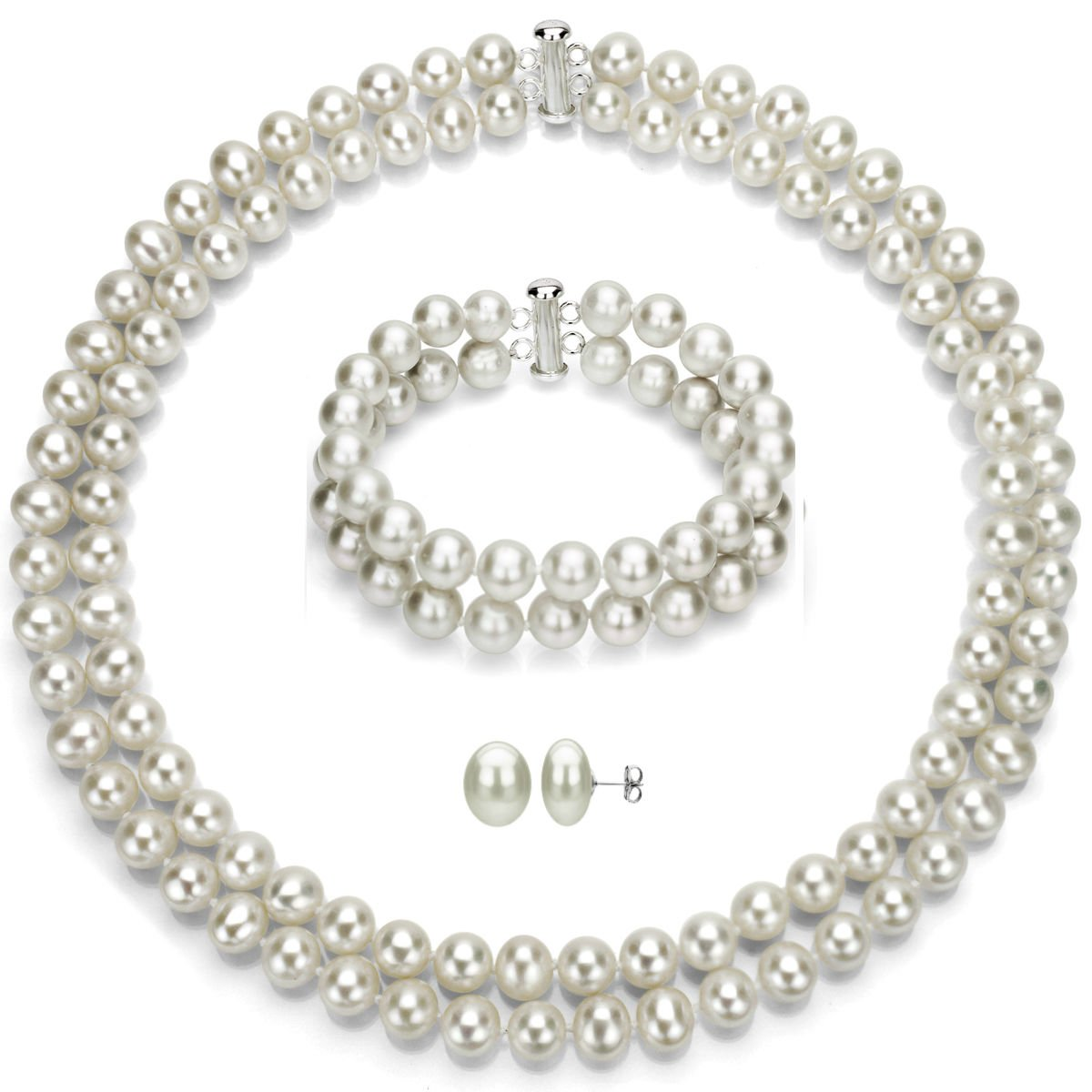 Sterling Silver 2-rows 8-8.5mm White Freshwater Cultured Pearl Necklace, Bracelet & Stud Earrings