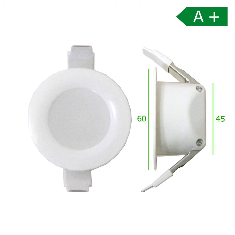 3 Watt Blanc Chaud Trano Lot de 6 Spots LED encastrables pour Salle de Bain 4 W 6 W 8 W IP 44 230 V 60mm