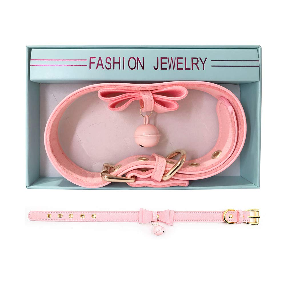PU Leather Bow Collar Necklace Choker with Bell Cat Cosplay Necklace (Pink)
