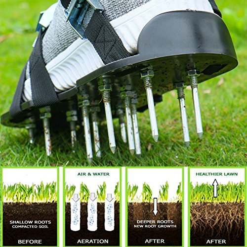 Blissun Lawn Aerator Shoes, 4 Aluminum Alloy Buckles Spiked Aerating Lawn Sandals, 26 Nails for Aerating Your Lawn or Yard, 4 Adjustable Straps Universal Size by Blissun (Image #1)