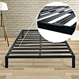Best Price Mattress Queen Bed Frame - 14 Inch Metal Platform Beds [Model C] w/Steel Slat Support (No Box Spring Needed), Black