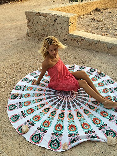Dongpai Indian Round Mandala Tapestry Giant Beach Towel,Cute Boho Sandusa Blanket,Cute Hippy Beach Throw,Cotton Blend Tablecloth Gypsy Roundie Yoga Mat(White) - Giant Blend