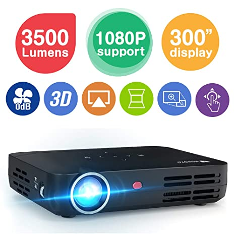 WOWOTO H8 3500 lumens Mini Projector LED DLP 1280x800 Real Mini Home  Theater Projector WXGA Support 3D 1080P HD Perfect for Entertainment  Business