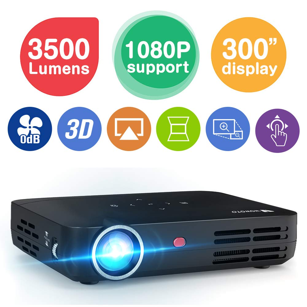 WOWOTO H8 3500 Lumens Mini Projector LED DLP 1280x800 Real Mini Home Theater Projector WXGA Support 3D 1080P HD Perfect for Entertainment Business Wireless Screen Share Android HDMI USBx2 RJ45 176''± by WOWOTO
