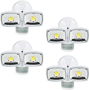 Home Zone Security Motion Sensor Light - Outdoor Weatherproof Ultra Bright 5000K LED Flood Lights (4 Set)