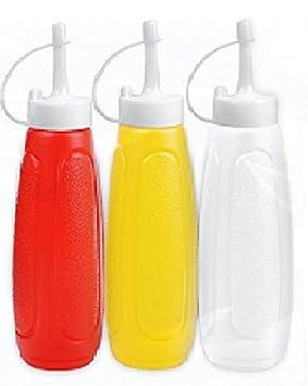 3 x dispensador de condimentos Ketchup rojo salsa mostaza plástico Squeezy Botella con tapón: Amazon.es: Hogar