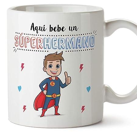 MUGFFINS Taza Hermano – Aquí Bebe un Super Hermano – Taza Desayuno ...