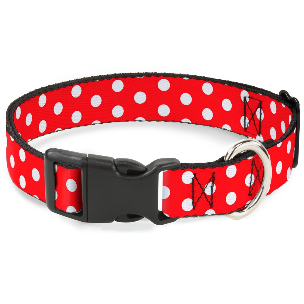 Buckle Down Cat Collar Breakaway Minnie Mouse Polka Dots Red White 8 to 12 Inches 0.5 Inch Wide