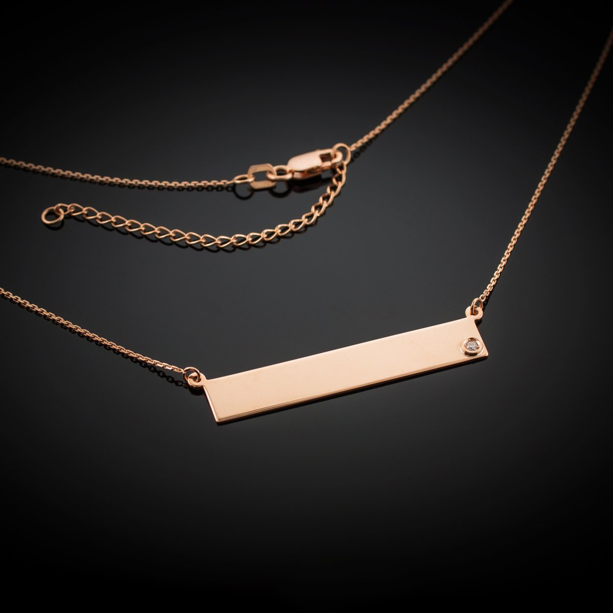 Dainty 14k Rose Gold Engravable Personalized Diamond Bar Necklace for Women