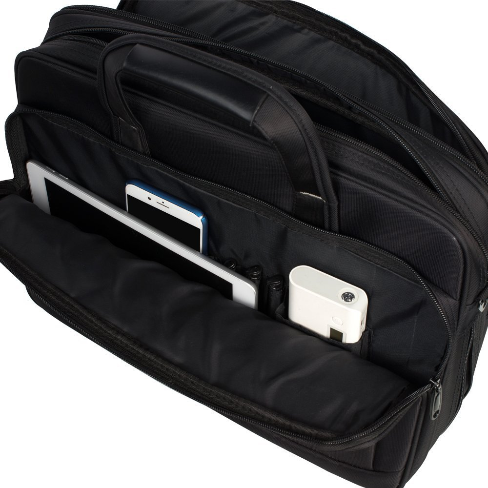KOPACK Expandable Laptop Briefcase 17 17.3 Inch Large Business Water Resistant Shoulder Computer Bags Black by kopack (Image #8)