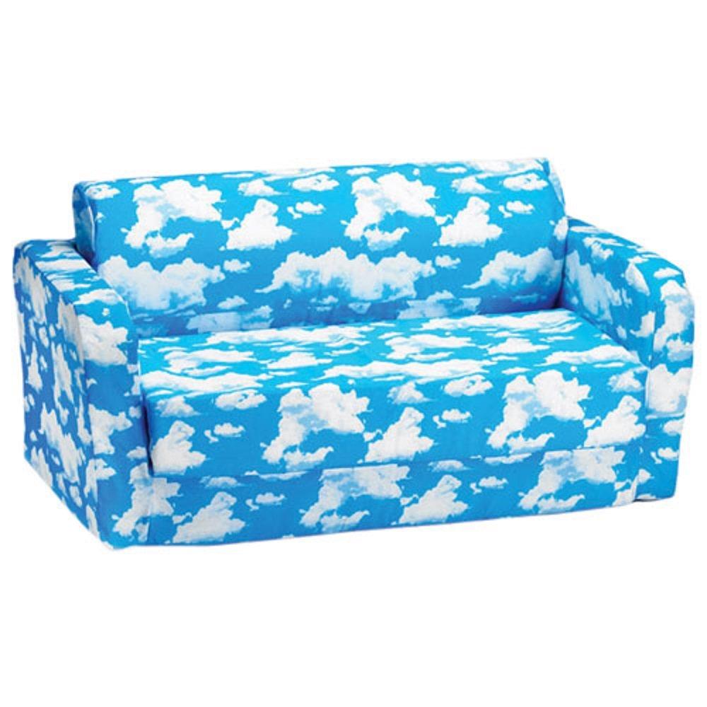 comfy kids polyester kids flip sofa blue white clouds amazon rh amazon ca blue sofa white piping blue sofa white piping