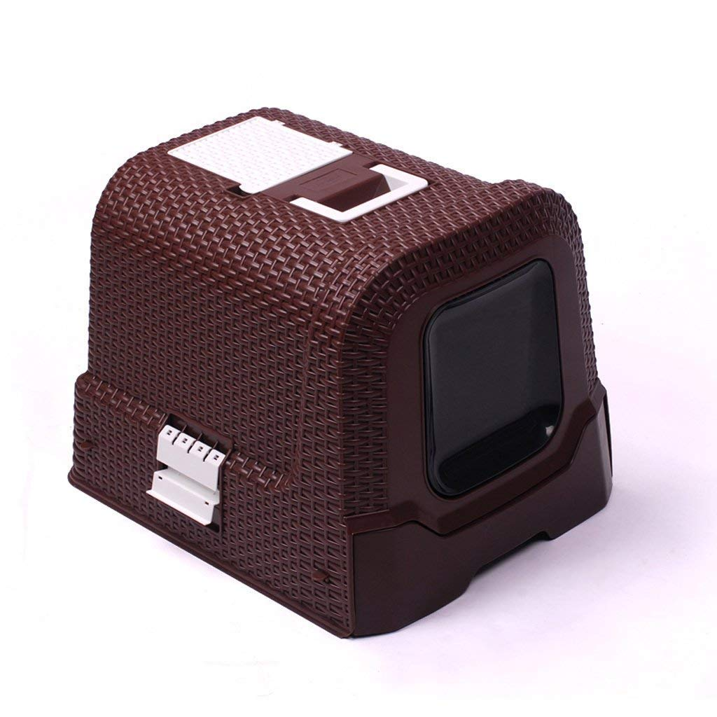 BROWN MEI XU Cat Toilet Closed Portable Easy To Clean Pet Toilet Large Cat Toilet Suitable For All Cats brown Pet Supplies (color   BROWN)