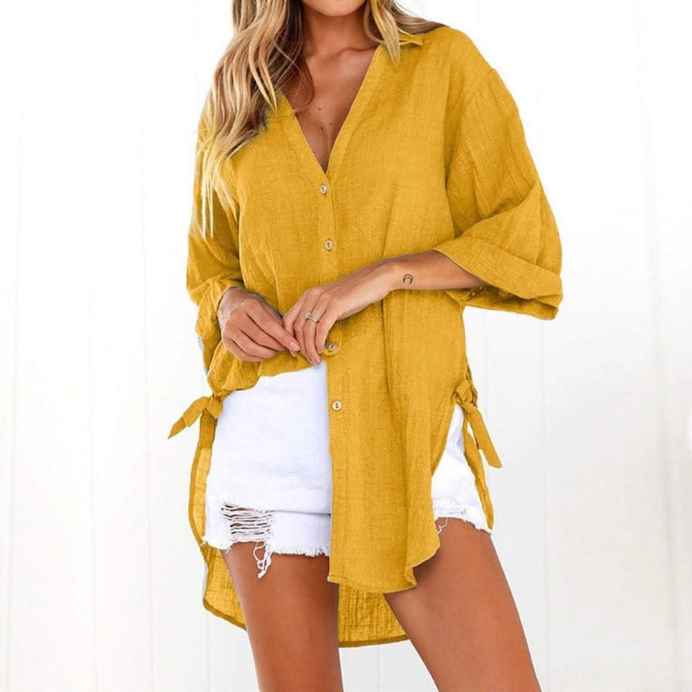 Blusas para Mujer, Moda Color SóLido Manga Larga Camisas con ...