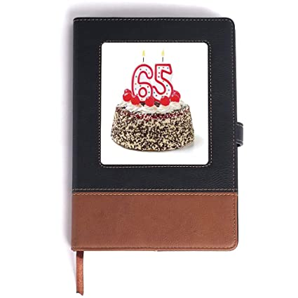 Mans Journal65th Birthday DecorationsBurning Candles Number Sixty Five On Delicious Cake With Cherriesfor Men