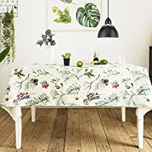 "KARUILU home Rectangular Heavy Weight Cotton Linen Indoor / Outdoor Tablecloth (Christmas Pine Cone and Branch, 55"" x 120"")"