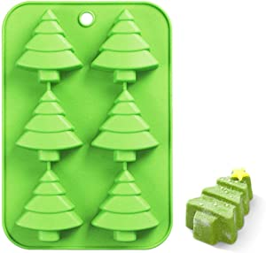 """Efivs Arts 6 Christmas Tree Silicone Cake Baking Mold Cake Pan Handmade Soap Moulds Biscuit Chocolate Ice Cube Tray DIY Mold 10"""""""