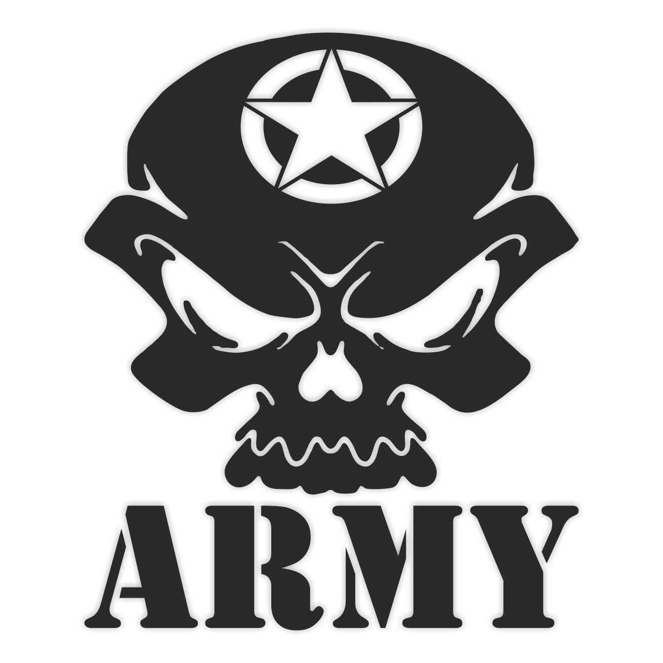 Teschio Army Punisher Militare Skull Stella Adesivo Decal Decalcolmania Vinile Murale Laptop Auto Moto Casco Camper ERREINGE STICKER PRESPAZIATO ORO 12cm