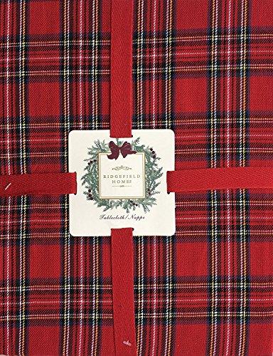 Ridgefield Home Fabric Cotton Christmas Holiday Scottish Plaid Tartan Pattern Tablecloth Red Black Green White Yellow 60 Inches (Scottish Christmas Green)
