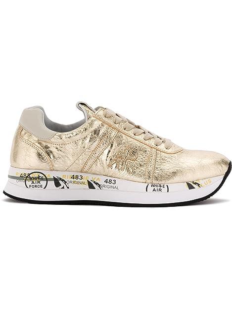 PREMIATA Conny - Zapatillas de Piel Para Mujer Dorado Dorado Dorado Size: 36 EU: Amazon.es: Zapatos y complementos