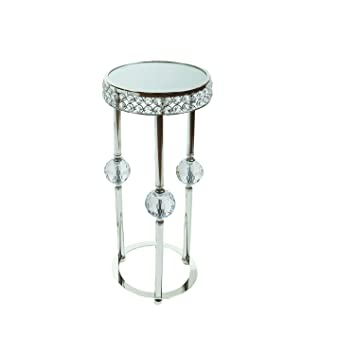 575cm crystal round mirror side end telephone bedside table mirrored glass top