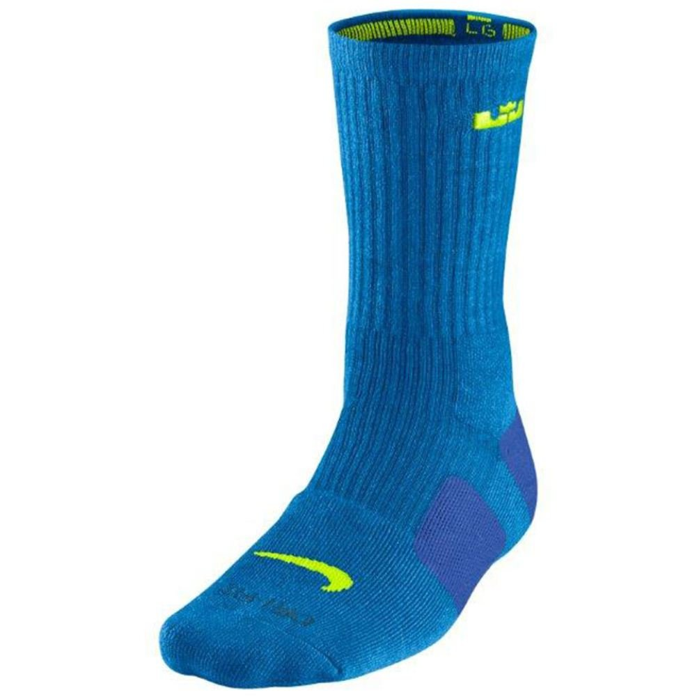 Men 's Nike LeBronクッションEliteクルーバスケットボールソックス B00OP41E2U ブルー Small